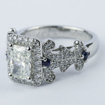 Vintage Scroll-Work Engagement Ring with Blue Sapphires - small angle 2