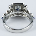 Vintage Scroll-Work Engagement Ring with Blue Sapphires - small angle 4