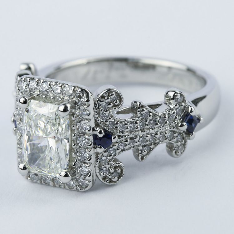 Vintage Scroll-Work Engagement Ring with Blue Sapphires angle 2
