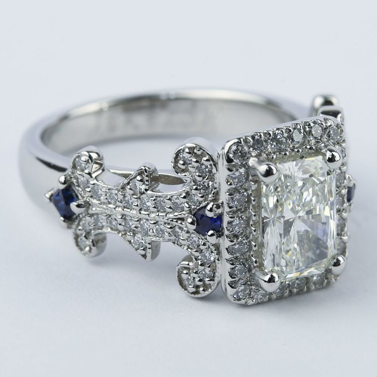 Antique Scroll Bands: Vintage Scroll-Work Engagement Ring With Blue Sapphires