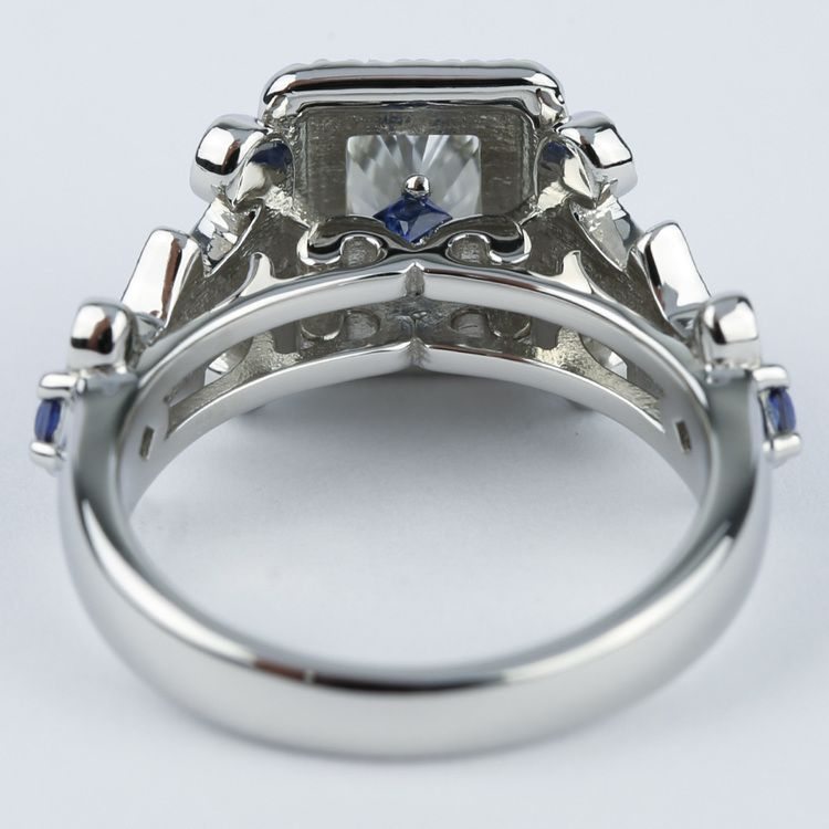 Vintage Scroll-Work Engagement Ring with Blue Sapphires angle 4