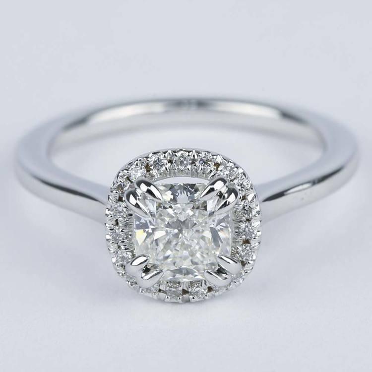 Double-Prong Cushion Diamond Halo Engagement Ring