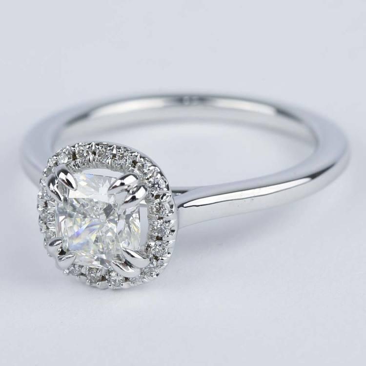 Double-Prong Cushion Diamond Halo Engagement Ring angle 2