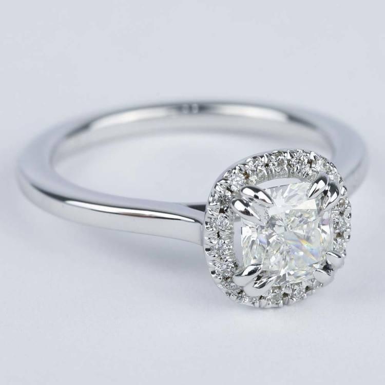 Double-Prong Cushion Diamond Halo Engagement Ring angle 3