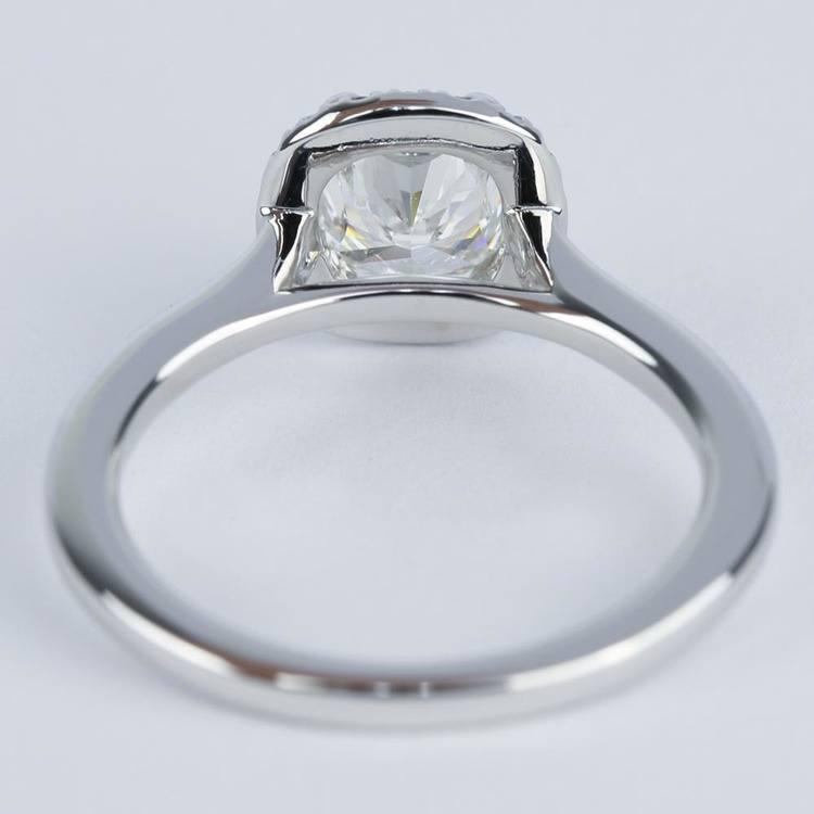 Double-Prong Cushion Diamond Halo Engagement Ring angle 4