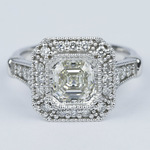 Vintage-Inspired Asscher Diamond Halo Engagement Ring - small