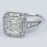 Vintage-Inspired Asscher Diamond Halo Engagement Ring - small angle 2