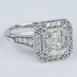 Vintage-Inspired Asscher Diamond Halo Engagement Ring - small angle 3