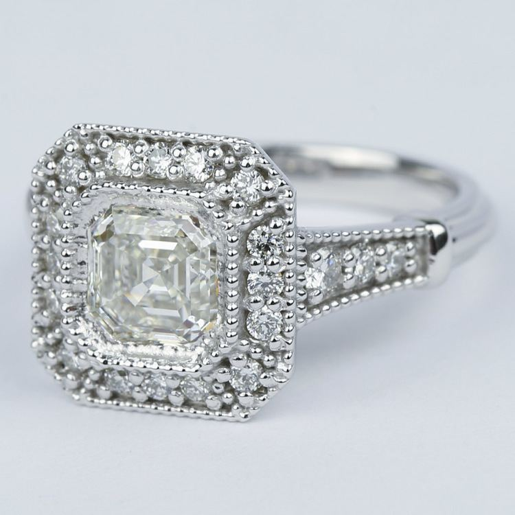 Vintage-Inspired Asscher Diamond Halo Engagement Ring angle 2