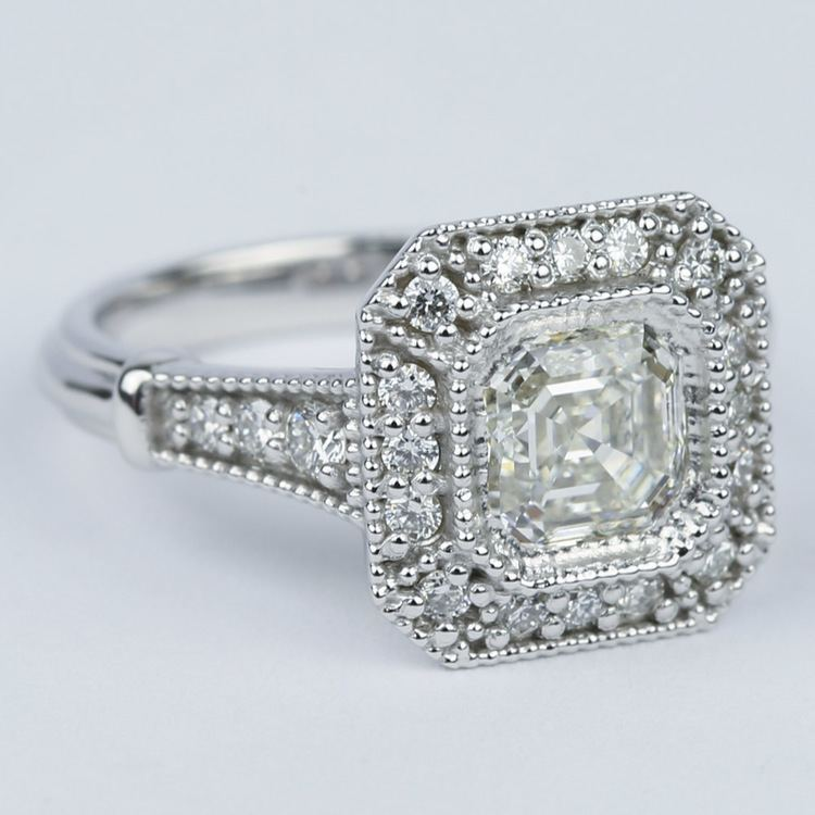 Vintage-Inspired Asscher Diamond Halo Engagement Ring angle 3