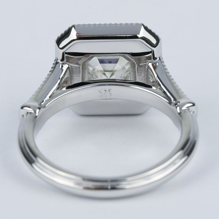 Vintage-Inspired Asscher Diamond Halo Engagement Ring angle 4