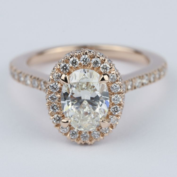 Two-Sided Halo Diamond Engagement Ring in Rose Gold