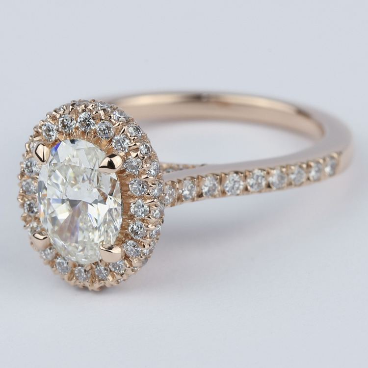 Two-Sided Halo Diamond Engagement Ring in Rose Gold angle 2
