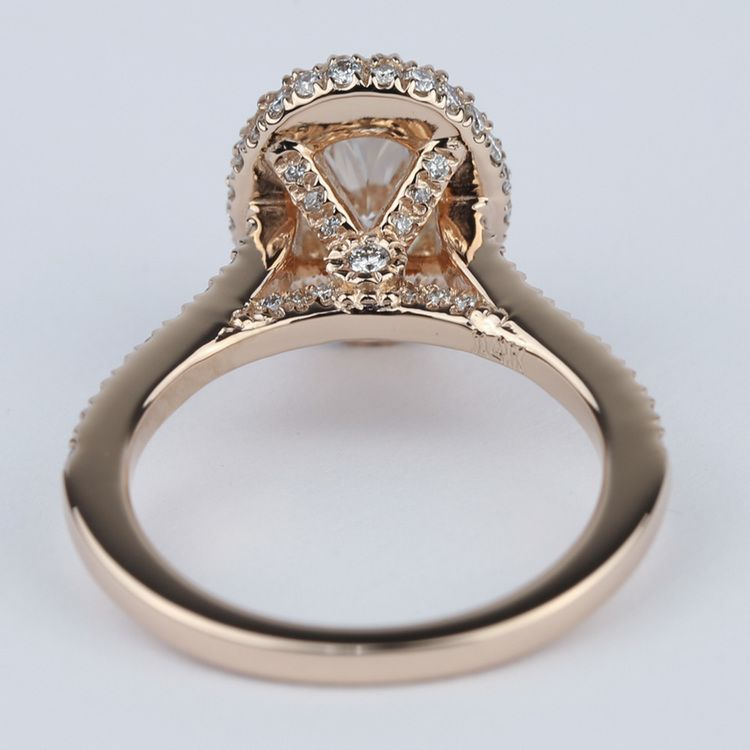 Two-Sided Halo Diamond Engagement Ring in Rose Gold angle 4