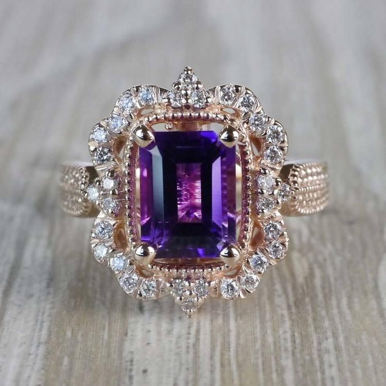 Custom Halo Antique Amethyst Emerald Cut Engagement Ring