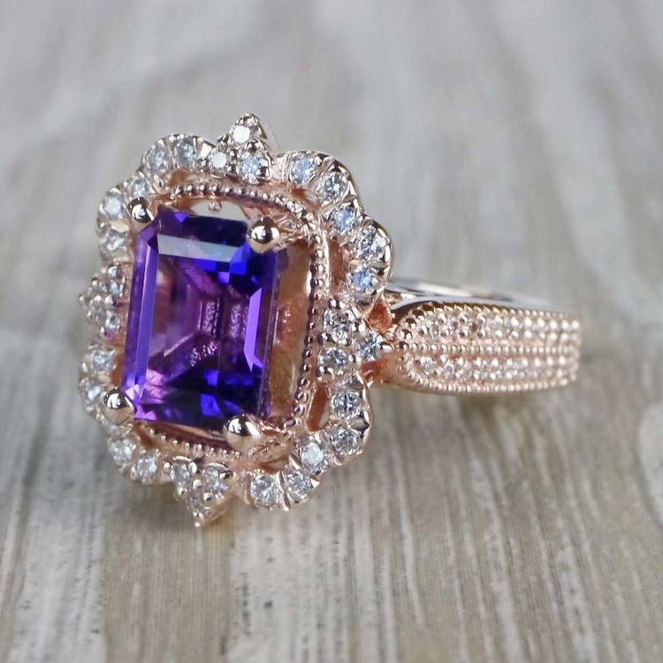 Custom Halo Antique Amethyst Emerald Cut Engagement Ring angle 2