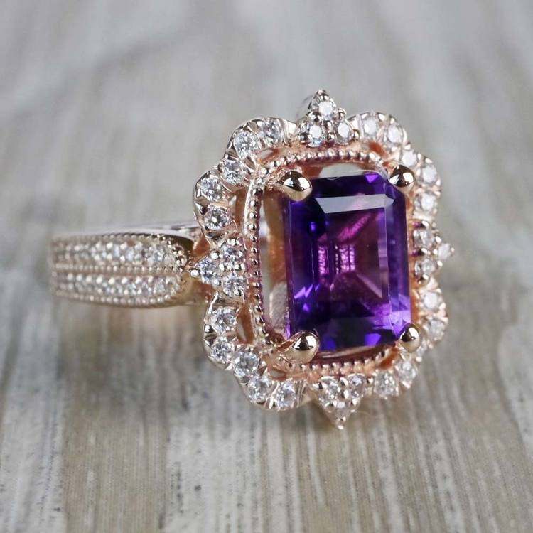 Custom Halo Antique Amethyst Emerald Cut Engagement Ring angle 3