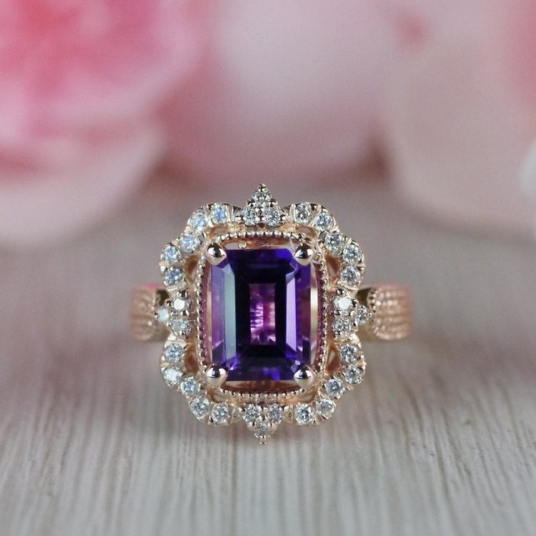 Custom Halo Antique Amethyst Emerald Cut Engagement Ring angle 5