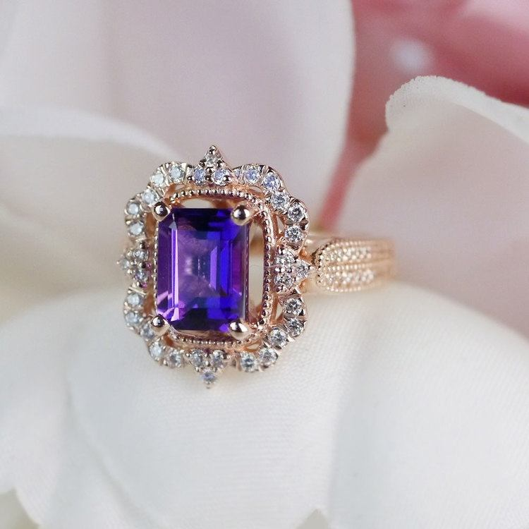 Custom Halo Antique Amethyst Emerald Cut Engagement Ring | 06