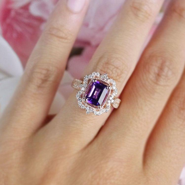 Custom Halo Antique Amethyst Emerald Cut Engagement Ring | 07