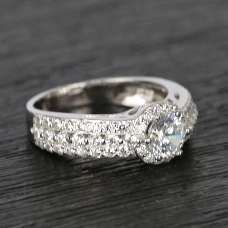 Custom Halo Three-Row Diamond Engagement Ring (0.75 ct.) angle 3