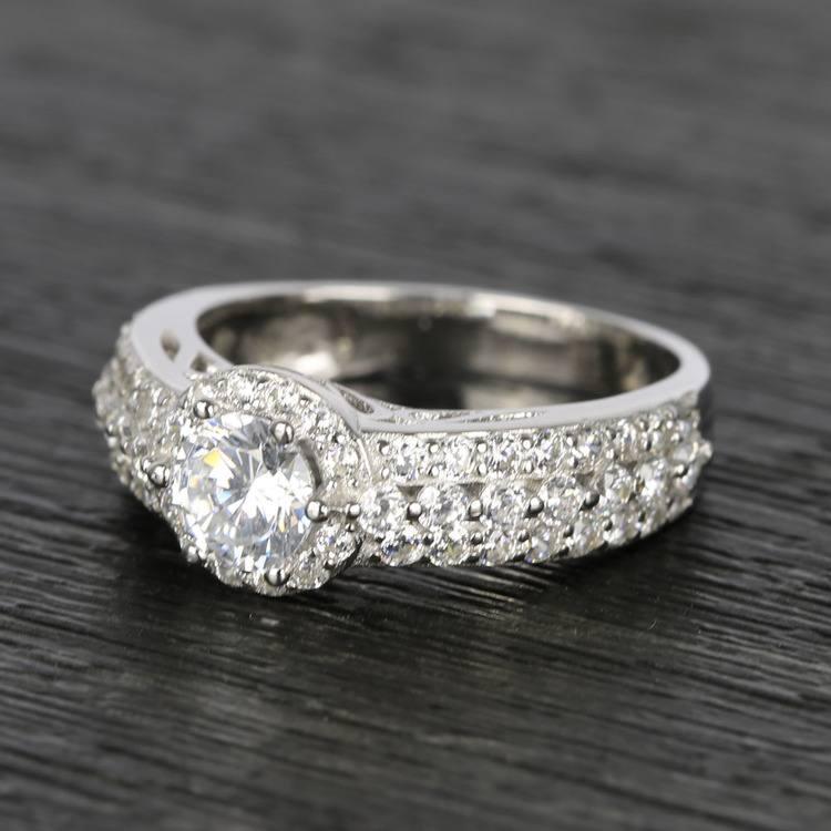 Custom Halo Three-Row Diamond Engagement Ring (0.75 ct.) angle 2