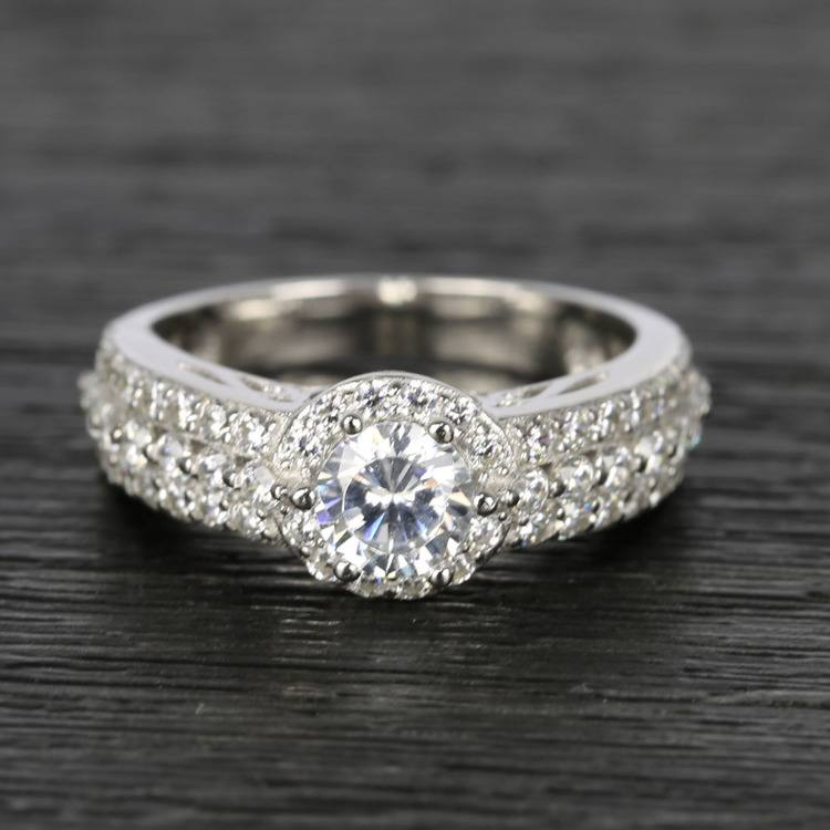 Custom Halo Three-Row Diamond Engagement Ring (0.75 ct.)