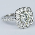 Oversized Halo Engagement Ring with 2.50 Carat Round Diamond - small angle 3