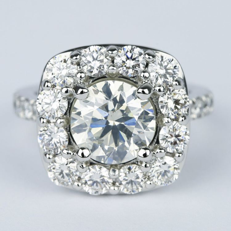 Oversized Halo Engagement Ring with 2.50 Carat Round Diamond
