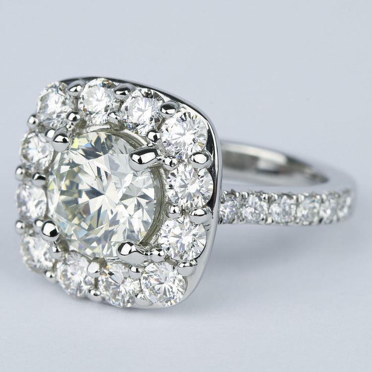 Oversized Halo Engagement Ring with 2.50 Carat Round Diamond angle 2