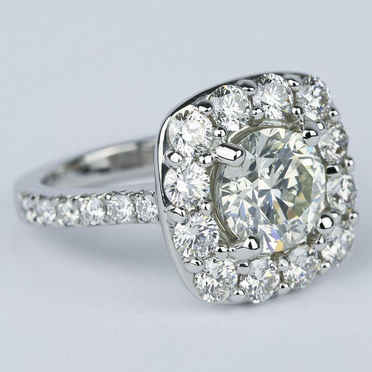 Oversized Halo Engagement Ring with 2.50 Carat Round Diamond angle 3