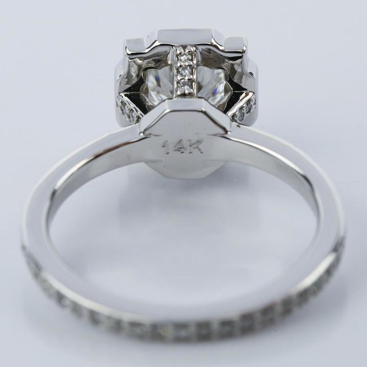 Custom Halo Diamond Engagement Ring in White Gold (0.70 ct.) angle 4