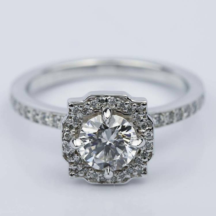 Custom Halo Diamond Engagement Ring in White Gold (0.70 ct.)
