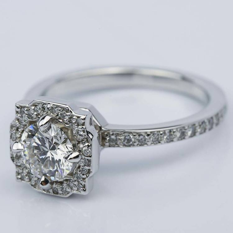 Custom Halo Diamond Engagement Ring in White Gold (0.70 ct.) angle 2