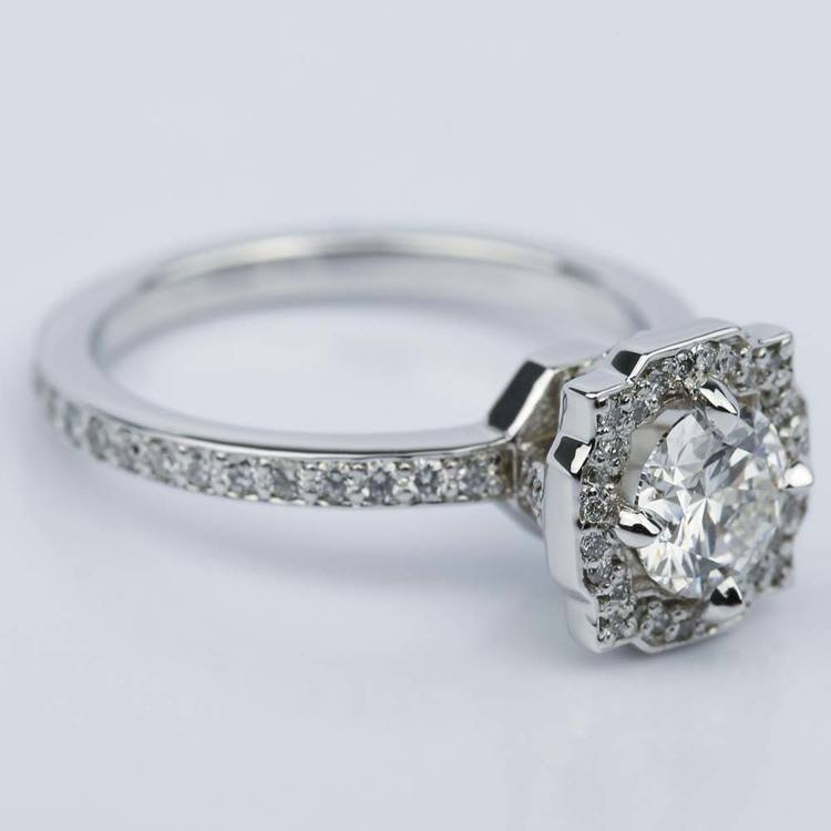 Custom Halo Diamond Engagement Ring in White Gold (0.70 ct.) angle 3