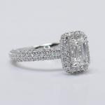 Flawless 1 Carat Custom Emerald Halo Diamond Engagement Ring - small angle 3