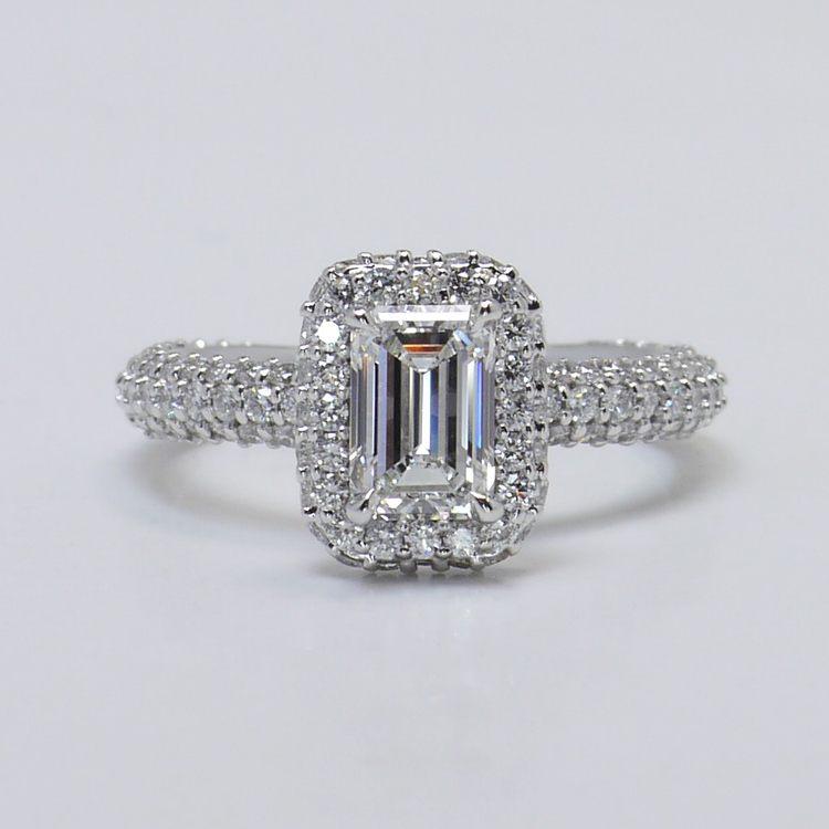 Flawless 1 Carat Custom Emerald Halo Diamond Engagement Ring
