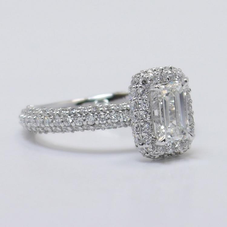 Flawless 1 Carat Custom Emerald Halo Diamond Engagement Ring angle 3