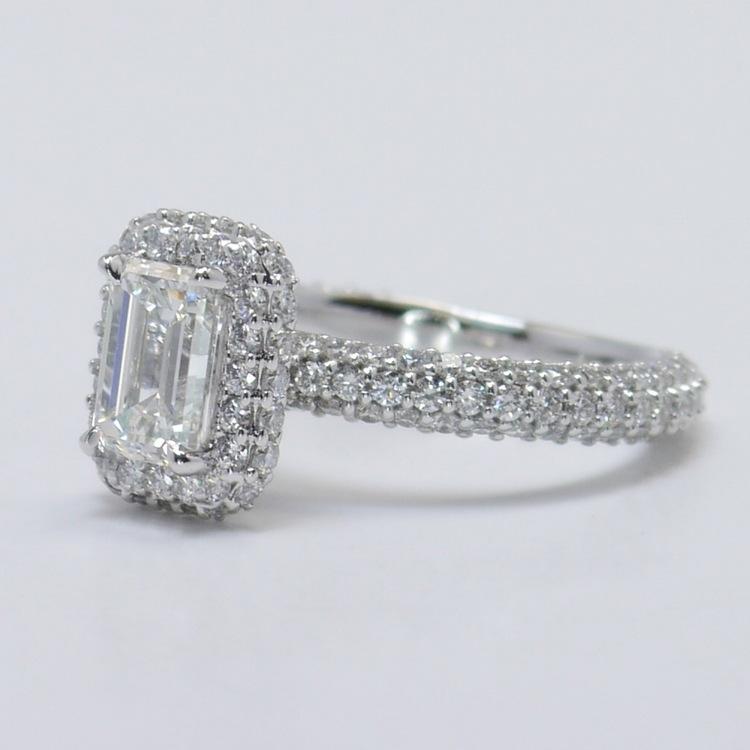 Flawless 1 Carat Custom Emerald Halo Diamond Engagement Ring angle 2
