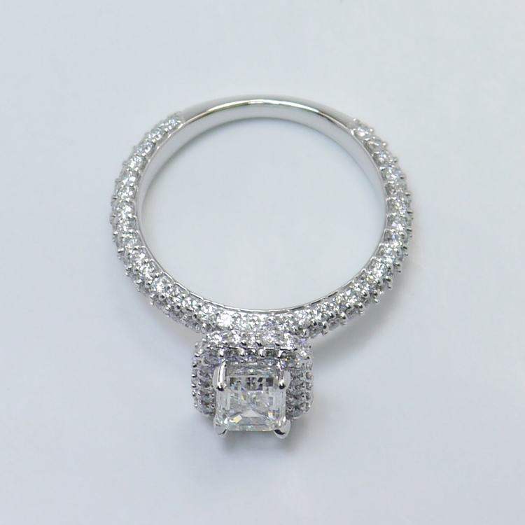 Flawless 1 Carat Custom Emerald Halo Diamond Engagement Ring angle 4