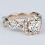 Twisted Two-Tone Halo Diamond Engagement Ring (1 Carat) - small angle 3
