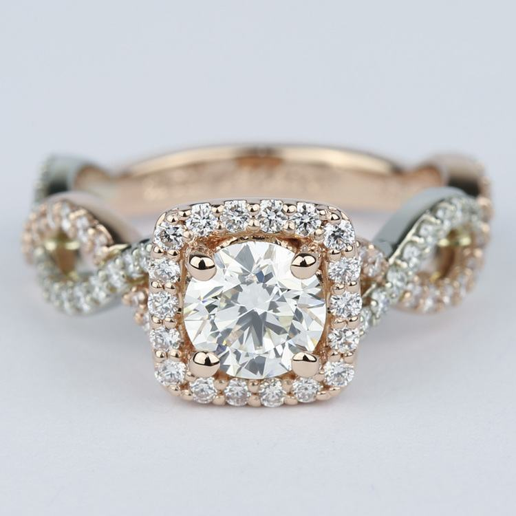 Twisted Two-Tone Halo Diamond Engagement Ring (1 Carat)