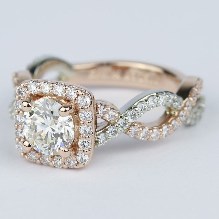 Twisted Two-Tone Halo Diamond Engagement Ring (1 Carat) angle 2