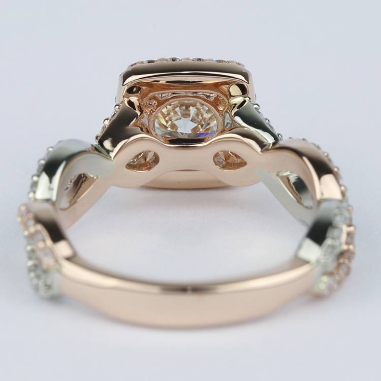 Twisted Two-Tone Halo Diamond Engagement Ring (1 Carat) angle 4