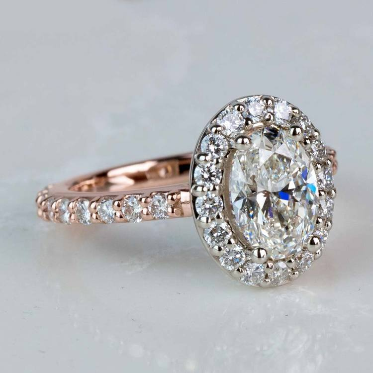 Custom Halo Oval Diamond Rose and White Gold Engagement Ring angle 3