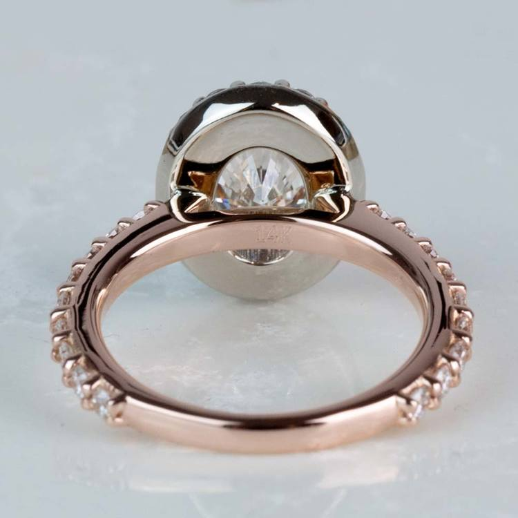 Custom Halo Oval Diamond Rose and White Gold Engagement Ring angle 4