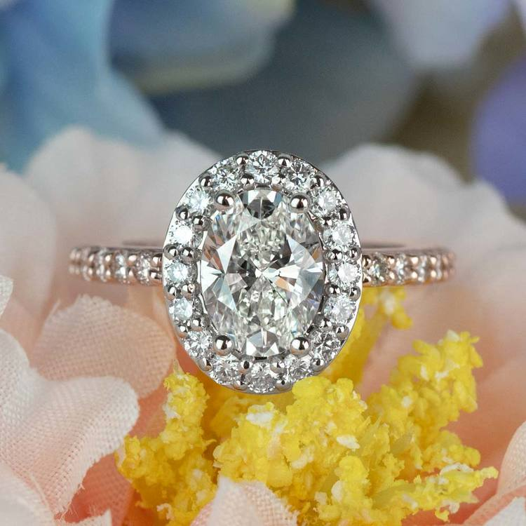 Custom Halo Oval Diamond Rose and White Gold Engagement Ring angle 5