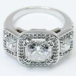 Custom Triple Cushion Halo Diamond Engagement Ring (3.60 carat) - small angle 2