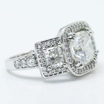 Custom Triple Cushion Halo Diamond Engagement Ring (3.60 carat) - small angle 3