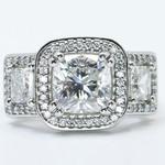 Custom Triple Cushion Halo Diamond Engagement Ring (3.60 carat) - small